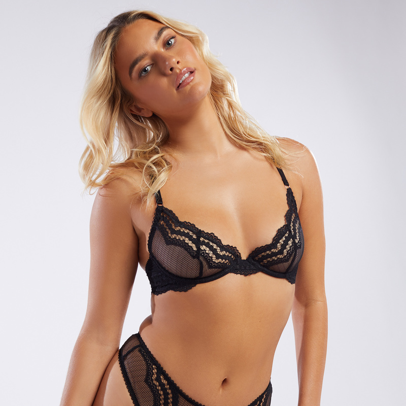 bd508b3178e8c Fishnet And Lace Unlined Demi Cup Bra