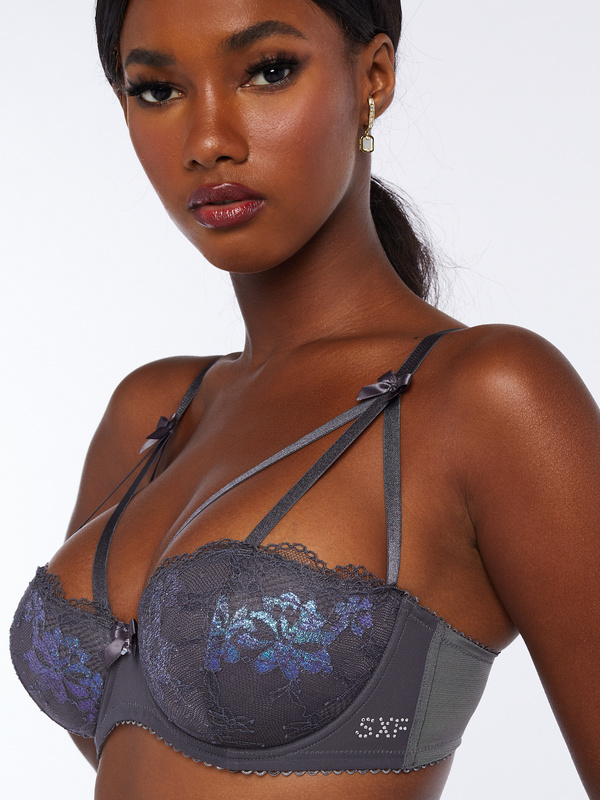 Living in the Clouds Iridescent Lace Caged Demi Bra