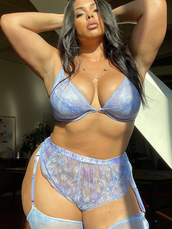 Watercolor Tie Dye Half Cup Bra with Lace