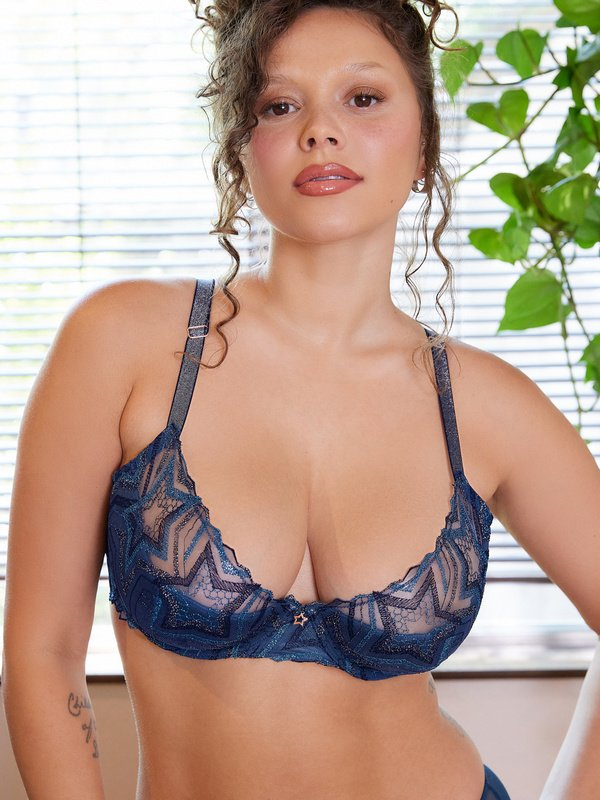 Shining Star Embroidered Half Cup Plunge Bra
