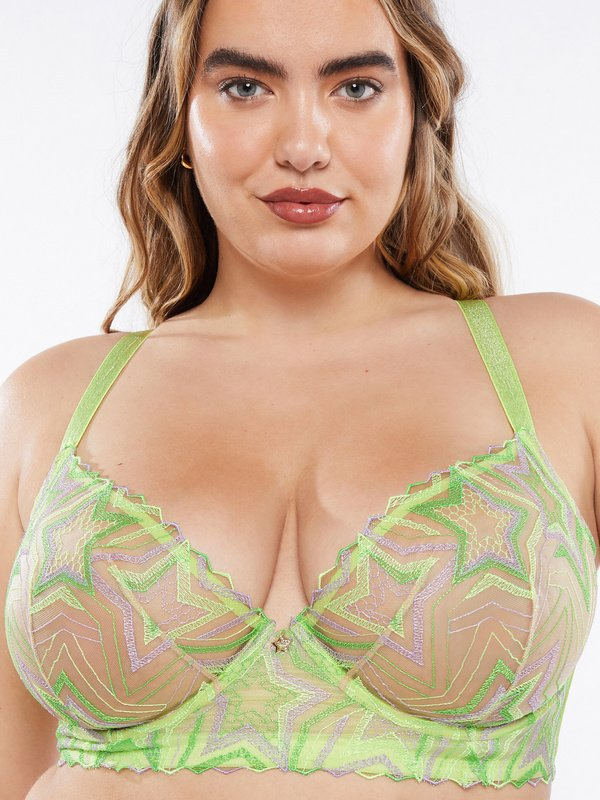 Shining Star Embroidered Unlined Demi Bra