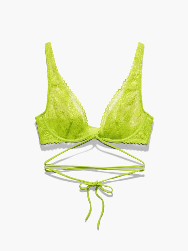 Caged Lace Unlined Bra with Tie
