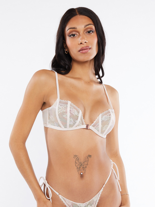 Caged Lace Front-Closure Bralette
