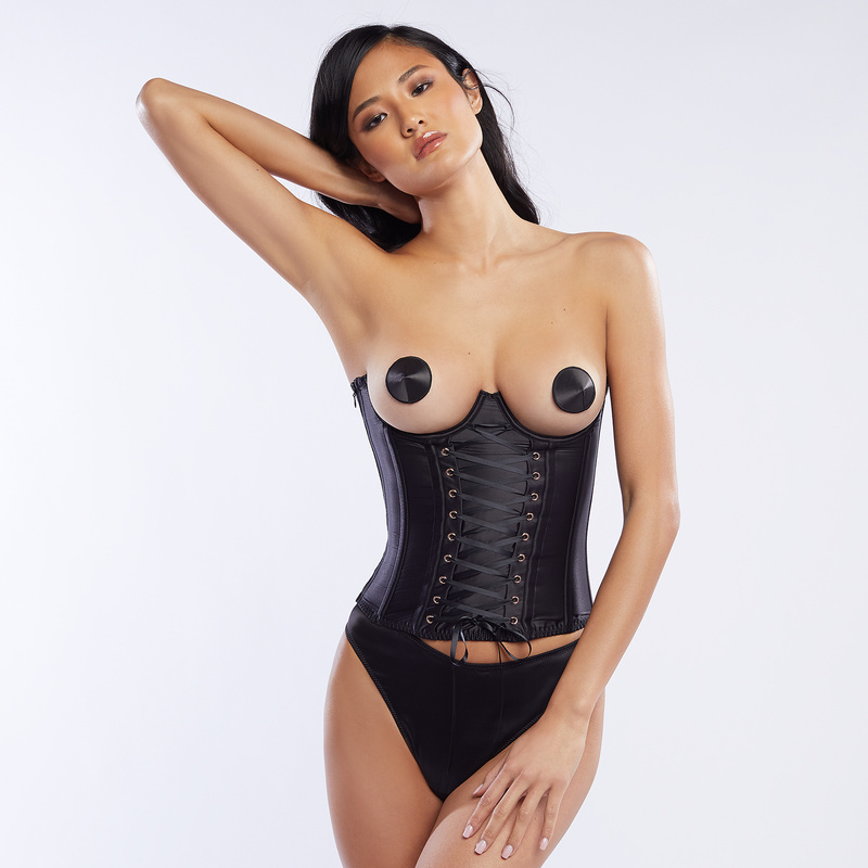 c4ed52ede4 Laced Satin Cupless Corset