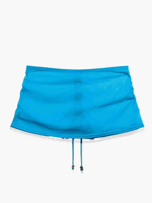 Gathered Mesh Skirt with Drawstring