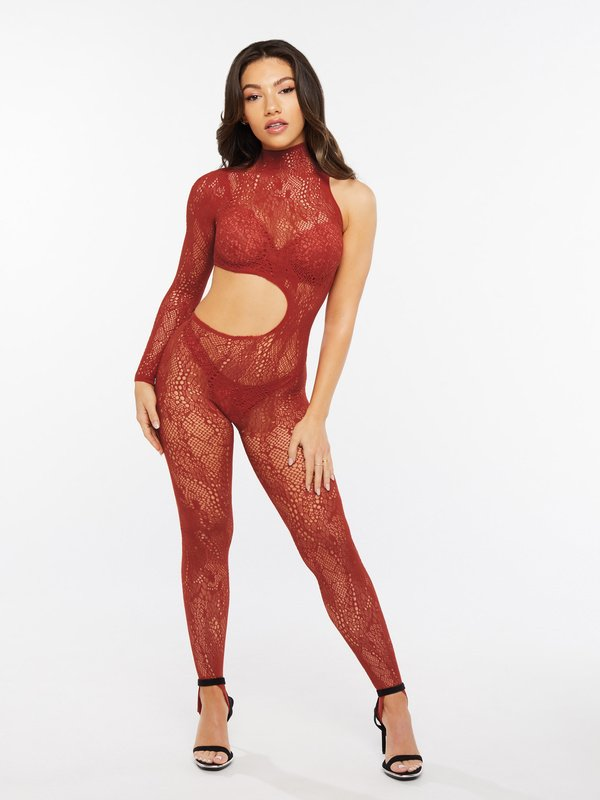 Cold-Hearted Snake Asymmetrical Lace Catsuit