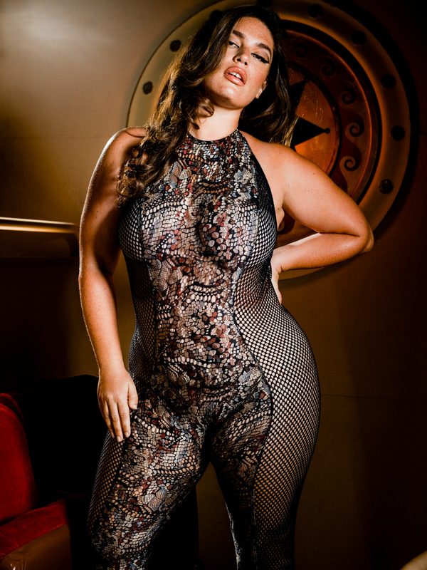 Cold-Hearted Snake High-Neck Lace Catsuit
