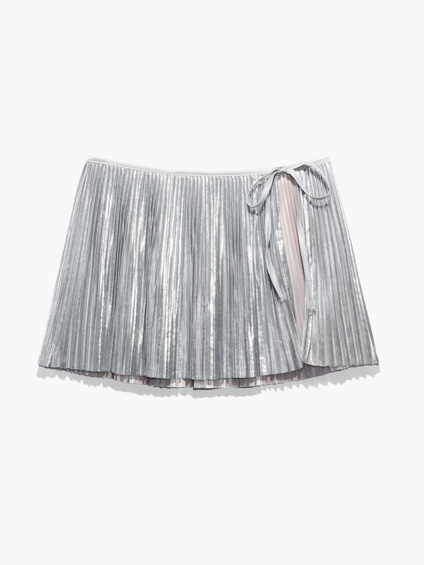 Pleated Lamé Skirt with Tie