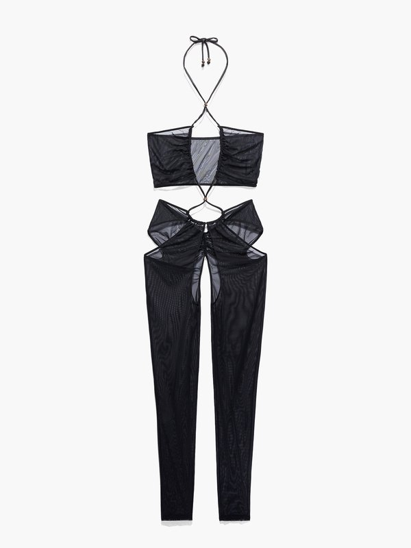 Gathered Mesh Crotchless Catsuit