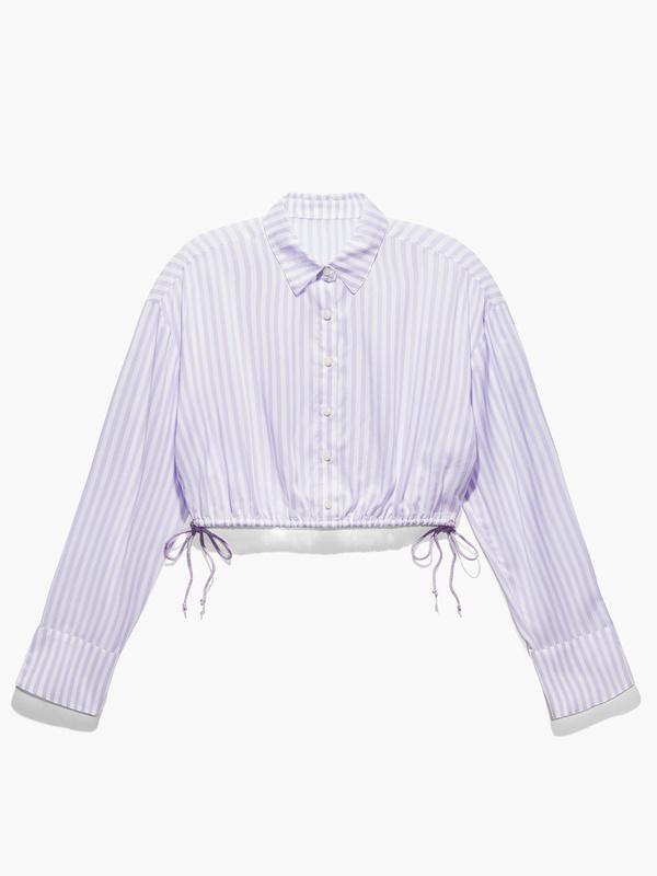Coastal Stripe Woven Voile Sleep Crop Shirt with Drawstring