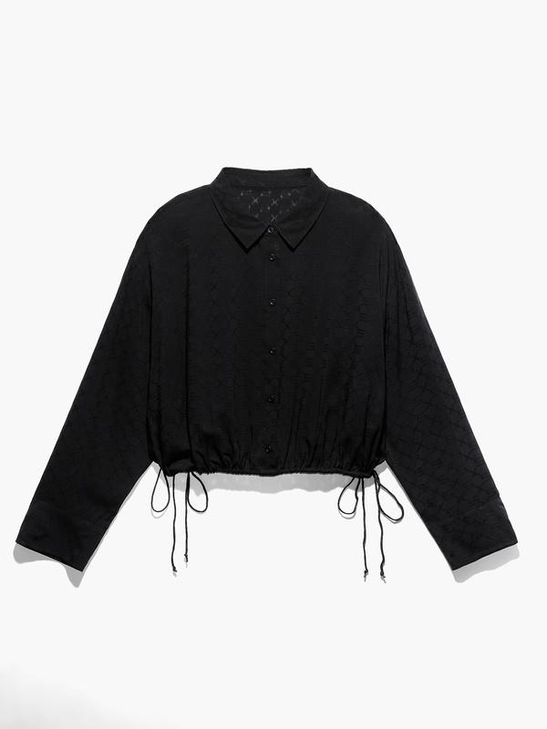 Woven Voile Monogram Sleep Crop Shirt with Drawstring