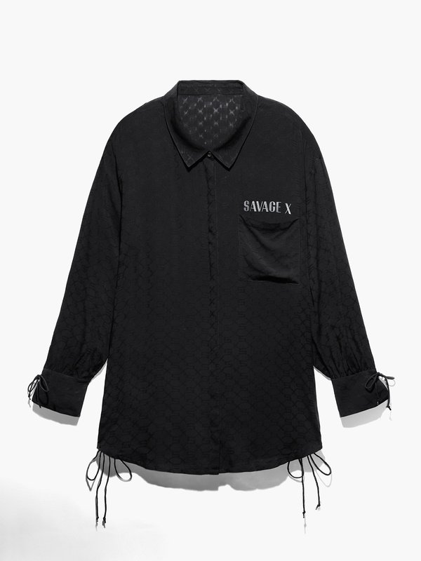 Woven Voile Monogram Sleep Long-Sleeve Shirt