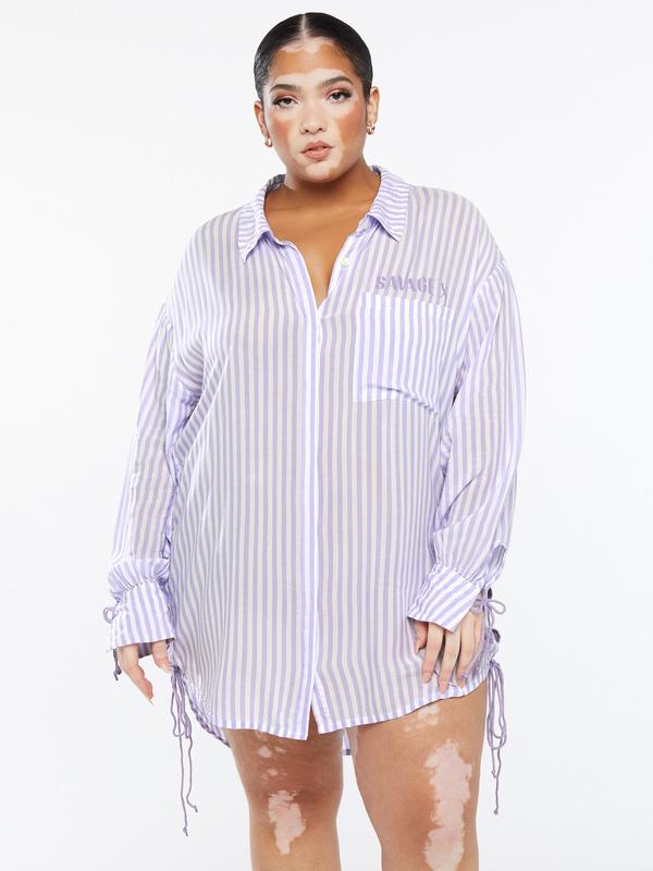 Coastal Stripe Woven Voile Sleep Long-Sleeve Shirt