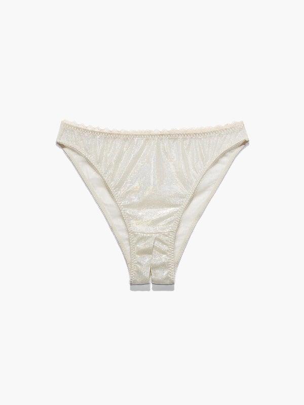 Mesh Crotchless High Leg Bikini