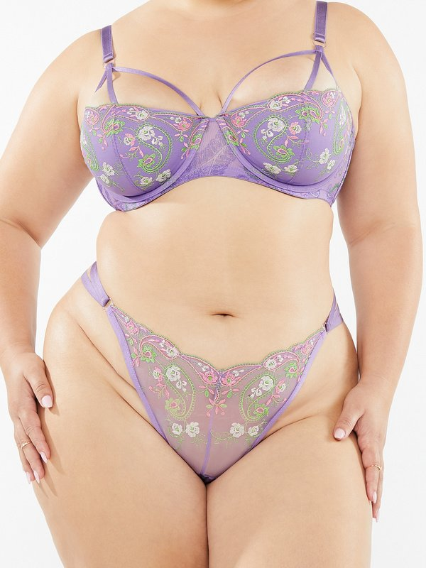 Bohemian Paisley Embroidered Strappy Knickers