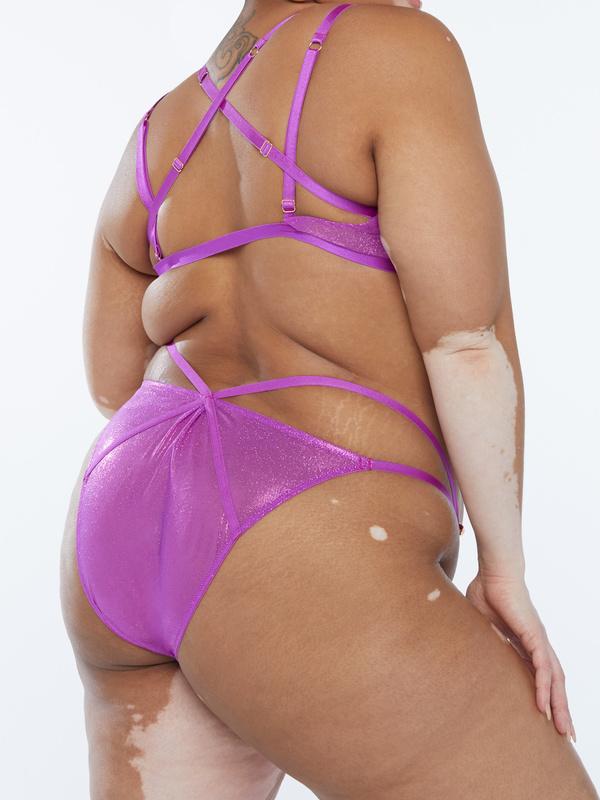 Gathered Mesh Strappy Bikini