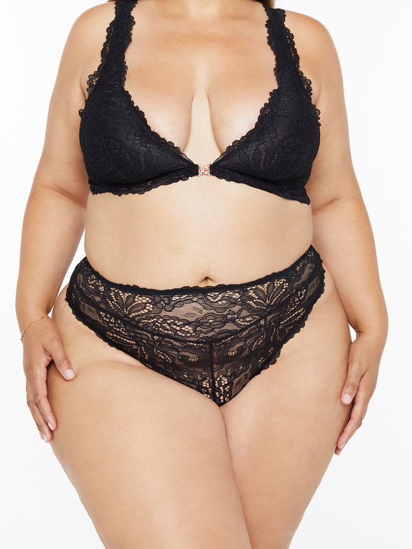 Romantic Corded Lace High-Waist Thong